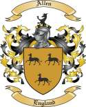 Allen Family Crest from England