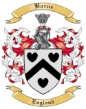 Barne Family Coat of Arms from England