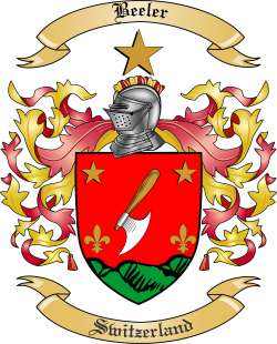 Beeler Family Coat of Arms from Switzerland