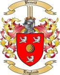 Beneit Family Crest from England