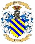 Benoitt Family Crest from France