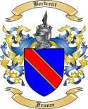 Bertrent Family Crest from France