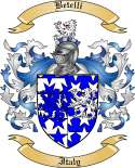 Betelli Family Crest from Italy