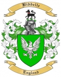 Biddelle Family Crest from Enlgand