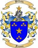 Billette Family Crest from France