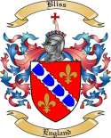Bliss Family Crest from England