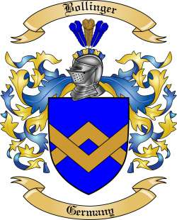 Bollinger Family Crest From Germany
