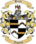 Bonde Family Crest from England