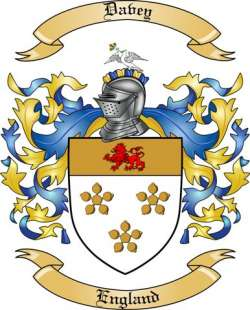 Davey Family Crest From England By The Tree Maker