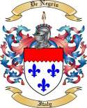 De Negris Family Crest from Italy