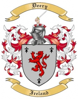 deery family crest from ireland by the tree maker