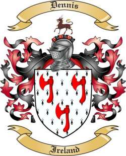 dennis family crest from ireland by the tree maker