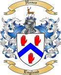 Hance Family Coat of Arms from England