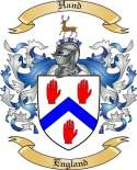 Hand Family Coat of Arms from England