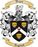 Hayes Family Crest from England