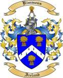 Kimmons Family Crest from Ireland