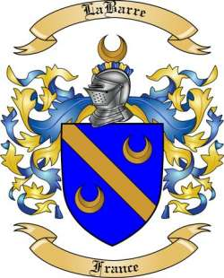 LaBarre Family Coat of Arms from France