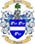 Leeman Family Coat of Arms from Engalnd