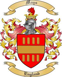 mays family crest from england by the tree maker
