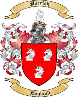 parrish family crest from england by the tree maker