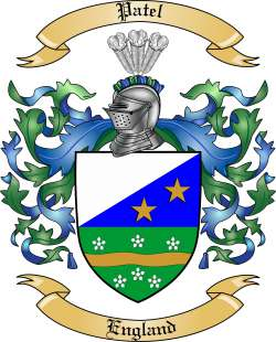 Patel family crest from england by the tree maker for Patel name meaning