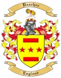 Reacher Family Coat of Arms from England