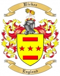 Ricker Family Coat of Arms from England