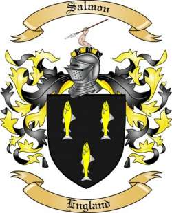 salmon family crest from england by the tree maker