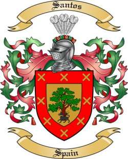 santos family crest from spain by the tree maker