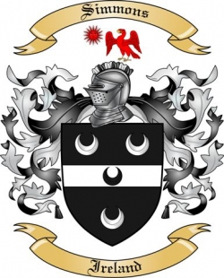 simmons family crest. ireland: simmons coat of arms / family crest n