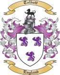 Talbott Family Crest from England