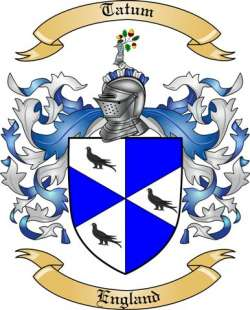 Tatum Family Crest From England By The Tree Maker