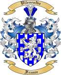 Vileneufve Family Coat of Arms from France