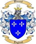 Vincent Family Crest from England