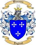 Vinceson Family Crest from England
