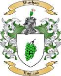 Vineham Family Coat of Arms from England