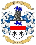 Wallpole Family Crest from England