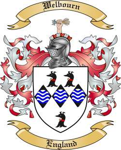 Welbourn Family Coat of Arms from England