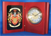 Personalized Desk Clock with Family Coat of Arms