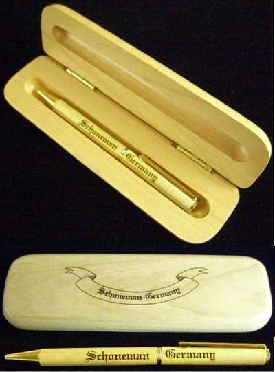 Wood Ink Pen Desk Set with Engraved Wood Case {2}