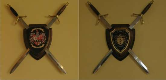 Sword Display Wall Plaque with Coat of Arms and Family Crest