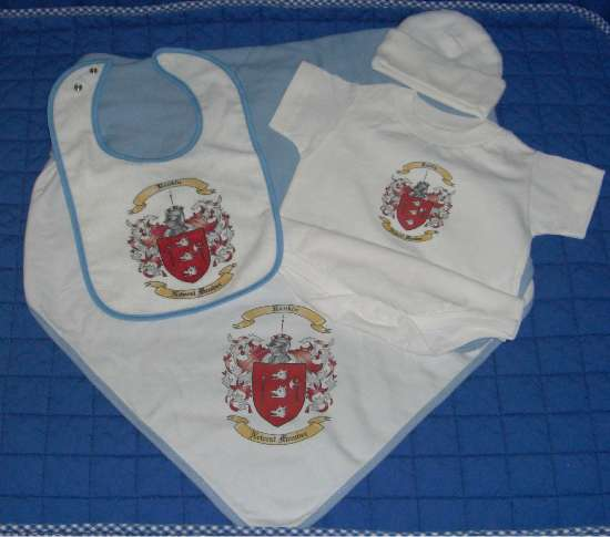 Unique Baby Gift Set and Baby Items with Your Coat of Arms.