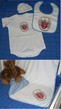 Baby Gift Set Six: Onesie, Newborn Cap, Bib, and Blanket.