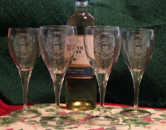 Laser Etched Stemware Glass with Coat of Arms Designs