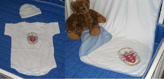 Baby Gift Set Five:  Baby Blanket, Onesie & Newborn Cap