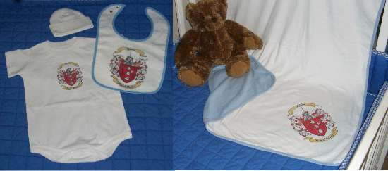Baby Gift Set Six: Onesie, Newborn Cap, Bib and Blanket