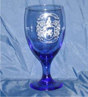 Cobalt Blue Goblets Laser Engraved with Coat of Arms