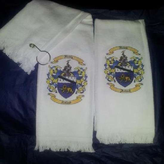 Personalized Golf Towels / Personalized Corporate Gift with Coat of Arms