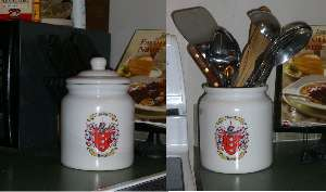 Cookie Jar / Canister with Family Crest / Coat of Arms