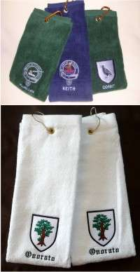 personalized golf towel with an embroidered coat of arms